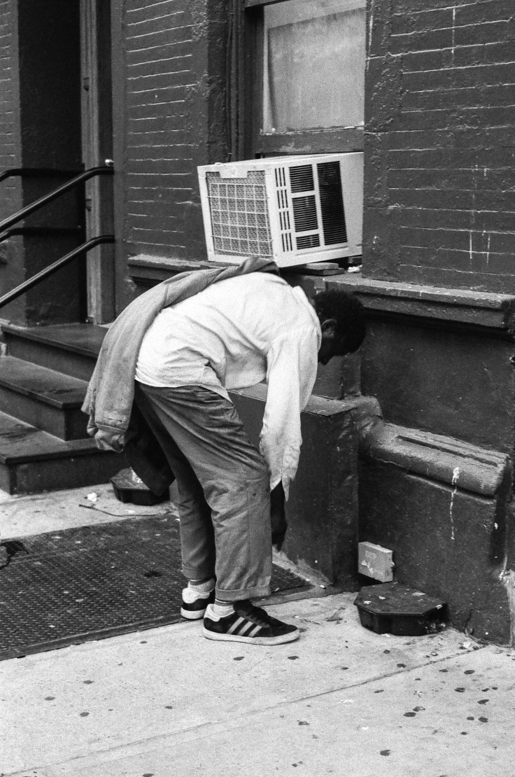 Homeless man air conditioner NYC_Donald Groves_july 2016